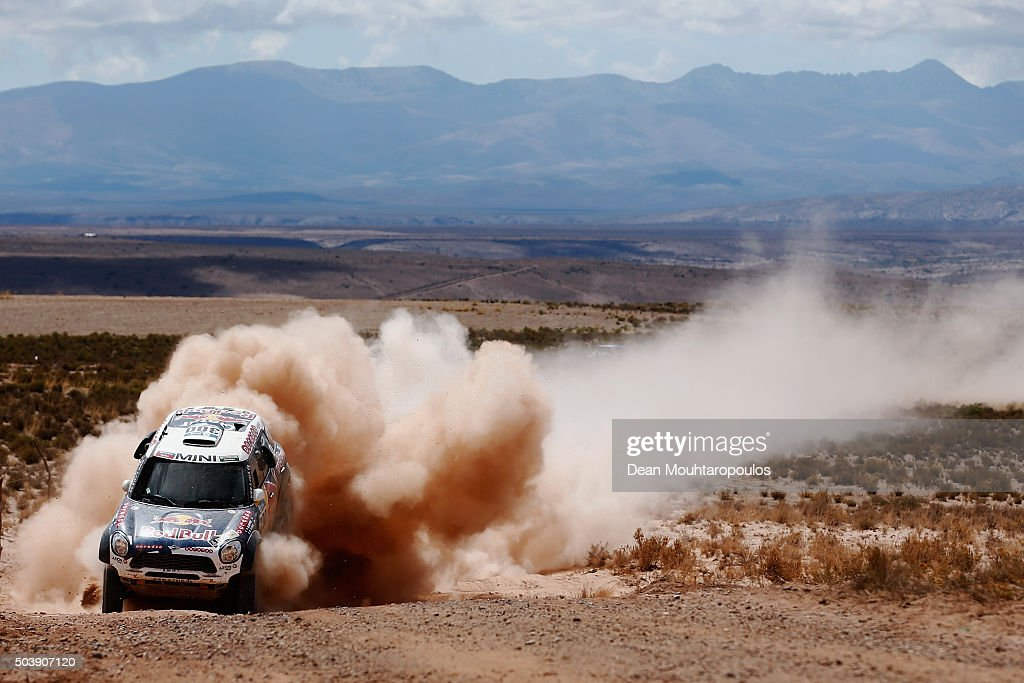 Nasser Al-Attiyah of Qatar and Matthieu Baumel of France in the MINI ALL4 RACING for AXION X-RAID TEAM compete on day 5 from Jujuy in Argentina to Uyuni in Bolivia during stage five of the 2016 Dakar Rally on January 7, 2016 in Villazon, Bolivia .