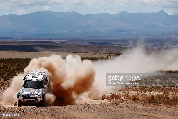 Nasser AlAttiyah of Qatar and Matthieu Baumel of France in the MINI ALL4 RACING for AXION XRAID TEAM compete on day 5 from Jujuy in Argentina to...