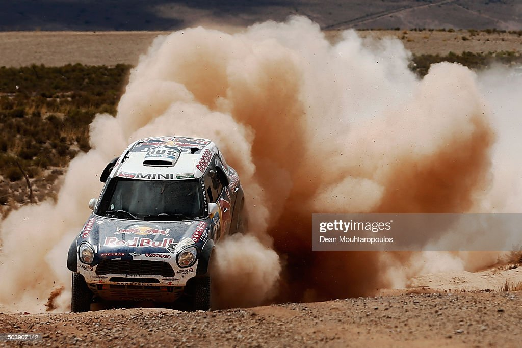 <a gi-track='captionPersonalityLinkClicked' href=/galleries/search?phrase=Nasser+Al-Attiyah&family=editorial&specificpeople=2247125 ng-click='$event.stopPropagation()'>Nasser Al-Attiyah</a> of Qatar and Matthieu Baumel of France in the MINI ALL4 RACING for AXION X-RAID TEAM compete on day 5 from Jujuy in Argentina to Uyuni in Bolivia during stage five of the 2016 Dakar Rally on January 7, 2016 in Villazon, Bolivia .