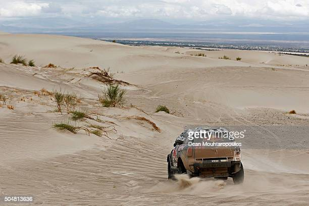 Nasser AlAttiyah of Qatar and Matthieu Baumel of France in the MINI ALL4 RACING for AXION XRAID TEAM compete on day 11 stage ten between Belen and La...