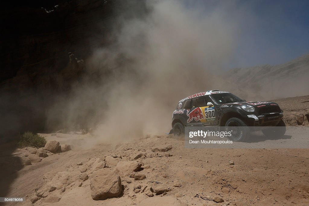 <a gi-track='captionPersonalityLinkClicked' href=/galleries/search?phrase=Nasser+Al-Attiyah&family=editorial&specificpeople=2247125 ng-click='$event.stopPropagation()'>Nasser Al-Attiyah</a> of Qatar and Matthieu Baumel of France in the MINI ALL4 RACING for AXION X-RAID TEAM compete on day 12 / stage eleven between La Rioja to San Juan during the 2016 Dakar Rally on January 14, 2016 near San Juan, Argentina.