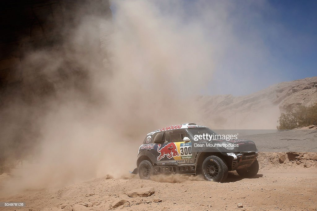 Nasser AlAttiyah of Qatar and Matthieu Baumel of France in the MINI ALL4 RACING for AXION XRAID TEAM compete on day 12 / stage eleven between La...