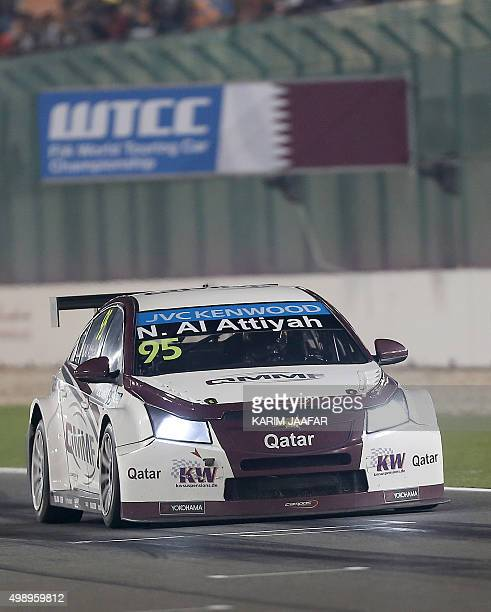 Nasser alAttiyah of Qatar drives in the first night race during the 2015 FIA World Touring Car Championship at the Losail international circuit in...