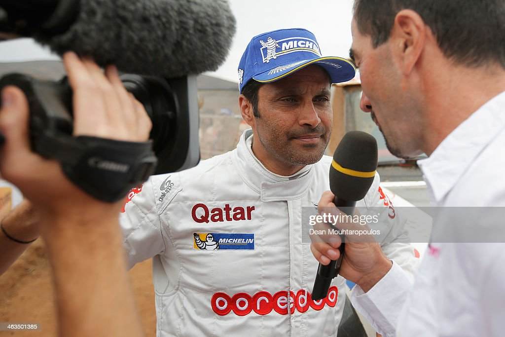 Nasser AlAttiyah of Qatar for Mini speaks to the media on the finish line after stage 13 the final leg on the way to Valparaiso during Day 13 of the...