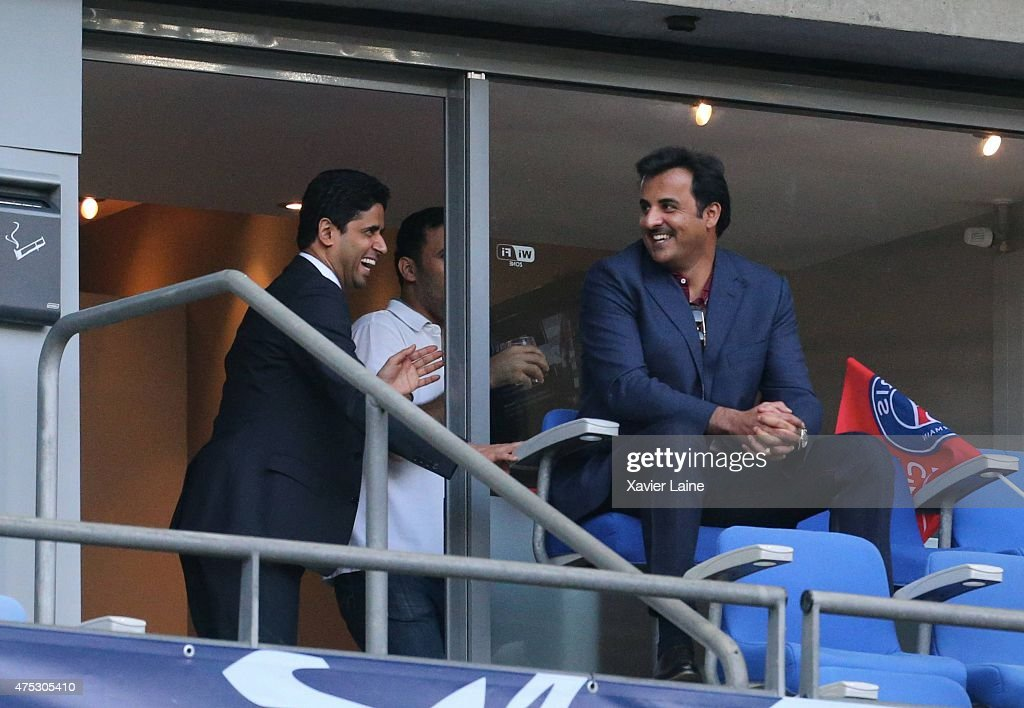 Nasser Al-Khelafi and Tamim ben Hamad Al Thani react during the French Cup Final between A.J Auxerre and Paris Saint-Germain FC at Stade de France on may 30, 2015 in Paris, France.