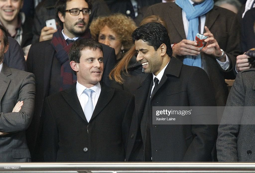 Nasser Al-Khelaifi and French Minister of the Interior Manuel Valls (L) attend the UEFA Champions League match between Paris Saint Germain FC and Valencia FC at Parc Des Princes on March 06, 2013 in Paris, France.