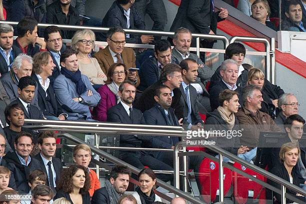 Nasser AlKhelaifi and Jean Tiberi attend the Paris Saint Germain FC vs SC Bastia at Parc des Princes on October 19 2013 in Paris France