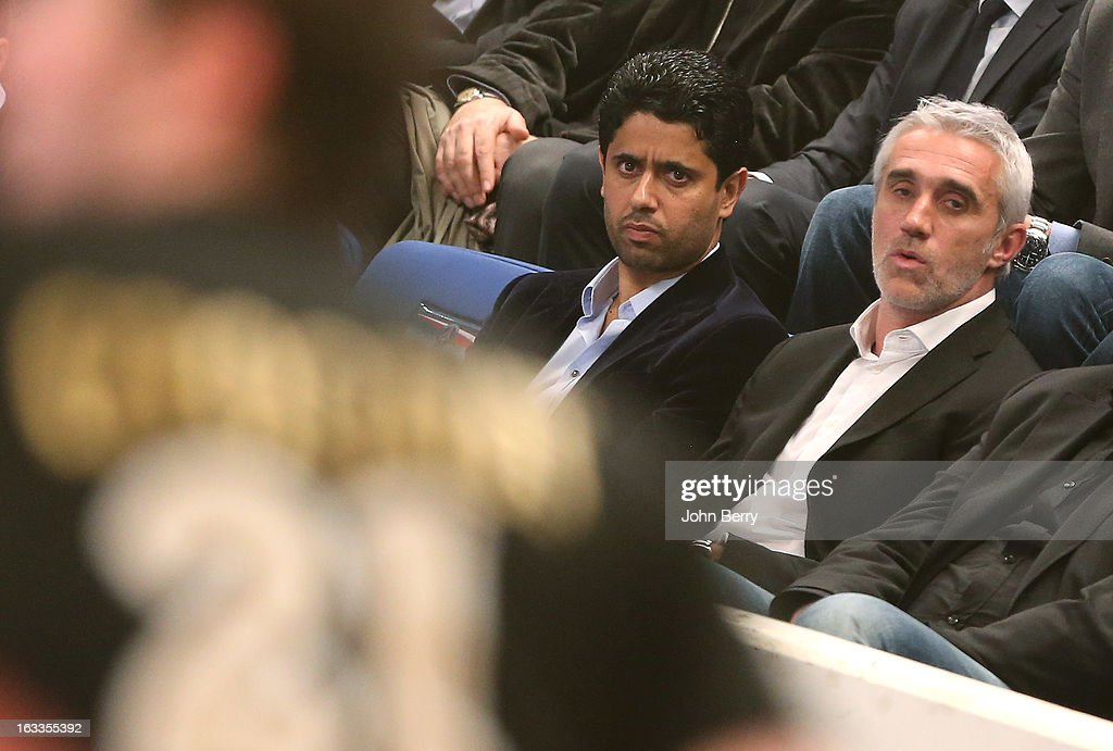 Nasser Al-Khelaifi (president of PSG, football and handball) and Philippe Bernat-Salles (president of the french Handball National League) watch the handball's Division 1 match between Paris Saint-Germain Handball and Dunkerque at the Stade Pierre de Coubertin on March 7, 2013 in Paris, France.