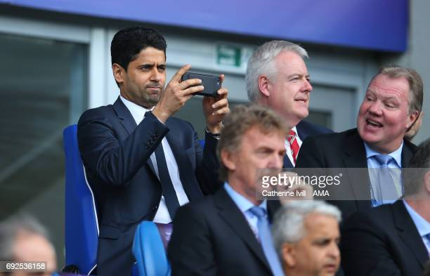 Nasser AlKhelaifi chairman of PSG takes a photo on his telephone during the UEFA Women's Champions League Final match between Lyon and Paris Saint...