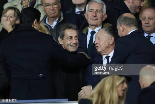 Nasser AlKhelaifi Nicolas Sarkozy and JeanMichel Aulas attend the French Ligue 1 match between Paris Saint Germain and Olympique Lyonnais at Parc des...