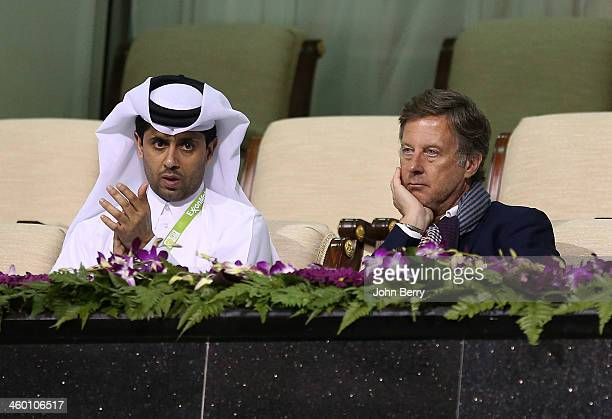 Nasser AlKhelaifi President of PSG and President of the Qatar Tennis Federation with Sebastien Bazin CEO of Colony Capital and former President of...