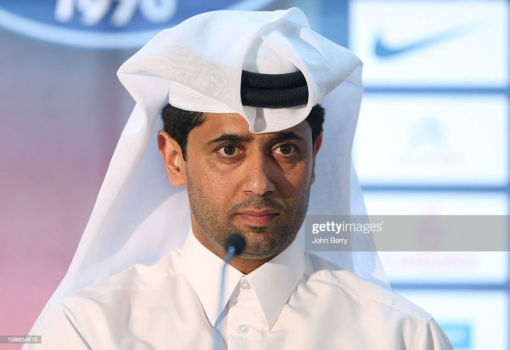 <a gi-track='captionPersonalityLinkClicked' href=/galleries/search?phrase=Nasser+Al-Khelaifi&family=editorial&specificpeople=7941556 ng-click='$event.stopPropagation()'>Nasser Al-Khelaifi</a>, president of PSG attends the official unveiling of Lucas Moura as a player of Paris Saint-Germain during a press conference and a jersey presentation at the Museum of Islamic Art on January 1, 2013 in Doha, Qatar.