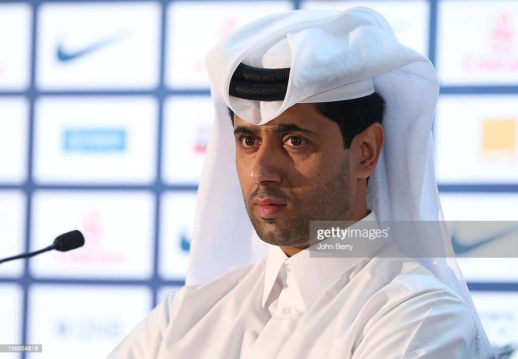 Nasser Al-Khelaifi, president of PSG attends the official unveiling of Lucas Moura as a player of Paris Saint-Germain during a press conference and a jersey presentation at the Museum of Islamic Art on January 1, 2013 in Doha, Qatar.