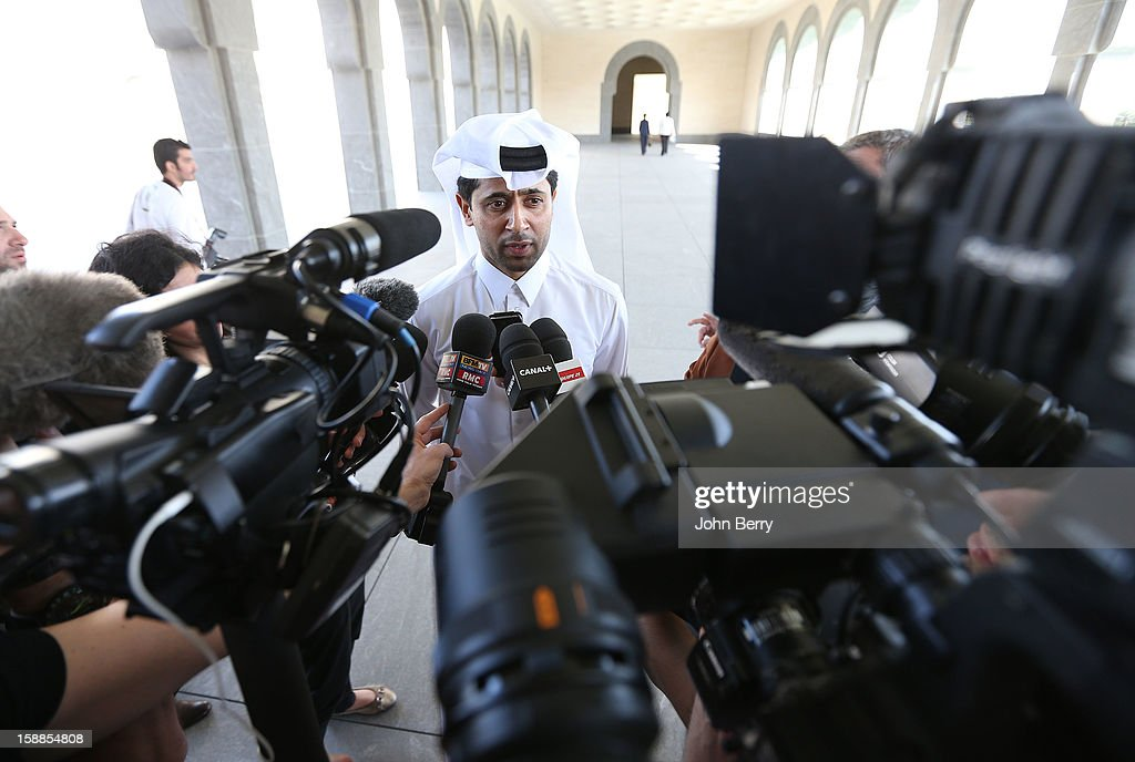 Nasser Al-Khelaifi, president of PSG speaks to members of the media at the official unveiling of Lucas Moura as a player of Paris Saint-Germain during a press conference and a jersey presentation at the Museum of Islamic Art on January 1, 2013 in Doha, Qatar.