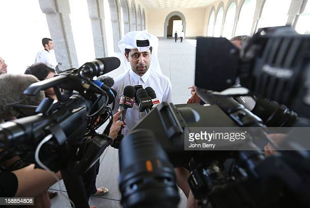 Nasser AlKhelaifi president of PSG speaks to members of the media at the official unveiling of Lucas Moura as a player of Paris SaintGermain during a...
