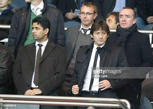 Nasser El Khelaifi and Leonardo Araujo president and manager of Paris Saint Germain attends the French Ligue 1 match between Paris Saint Germain and...
