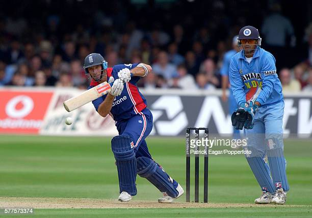 Nasser Hussain batting for England during his innings of 115 in the NatWest Series One Day International Final between England and India at Lord's...