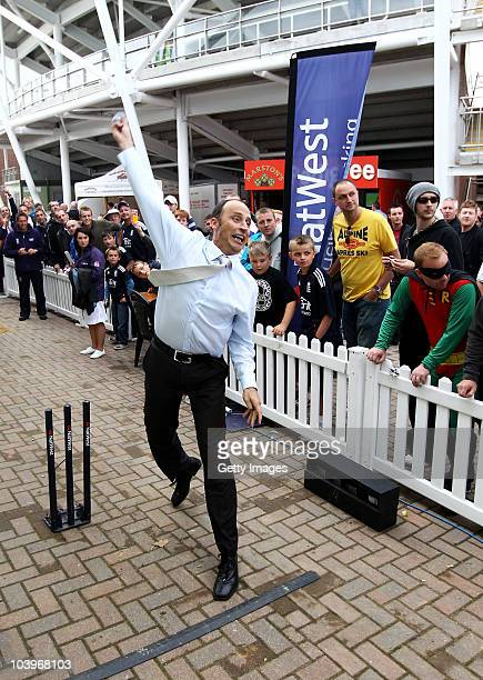 Nasser Hussain bowls in the NatWest Pro Bowling during the 1st NatWest One Day International between England and Pakistan at the Emirates Durham...