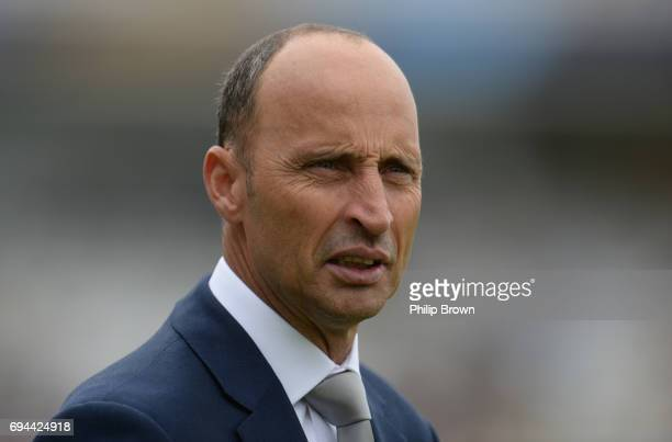 Nasser Hussain looks on before the ICC Champions Trophy match between England and Australia at Edgbaston cricket ground on June 10 2017 in Birmingham...