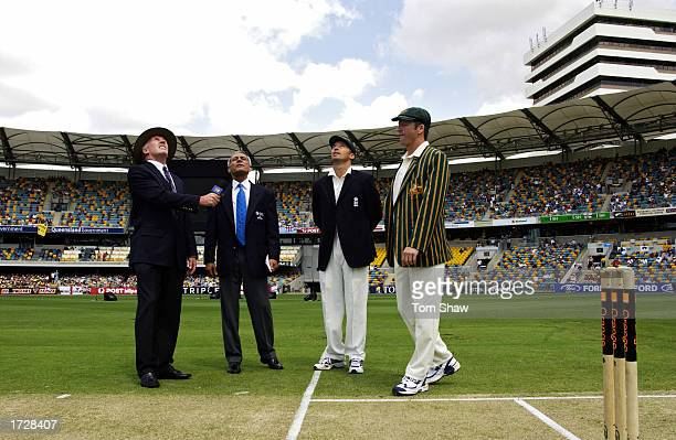 Nasser Hussain of England and Steve Waugh of Australia toss the coin during day one of the first Ashes Test between Australia and England held on...