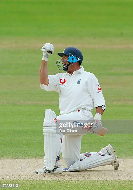 Nasser Hussain of England celebrates after making a century with a boundry that won England the match during the fifth day of the first npower test...