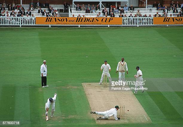 Nasser Hussain of Essex makes his ground and avoids being run out during the Benson and Hedges Cup Final between Essex and Leicestershire at Lord's...