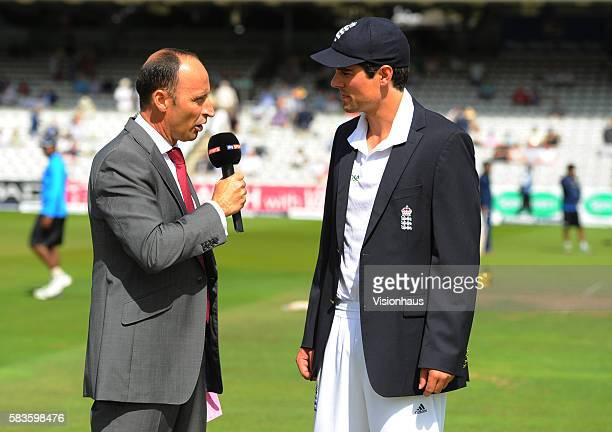 Nasser Hussain of Sky Sports interviews England Captain Alastair Cook during Day One of the 2nd Investec Test between England and India at Lord's...