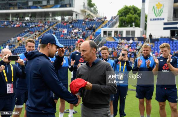 Nasser Hussain presents Dawid Malan with his International cap before the 3rd NatWest T20 International between England and South Africa at SWALEC...