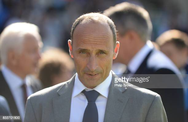 Nasser Hussain waits to take part in a lap of the ground during the first day of the 1st Investec Test match between England and the West Indies at...