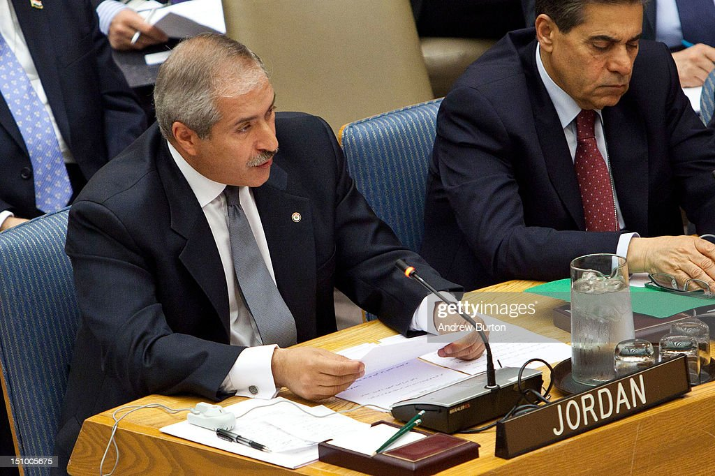 Nasser Judeh foreign minister of Jordan attends a UN Security Council meeting regarding the ongoing civil war in Syria on August 30 2012 in New York...