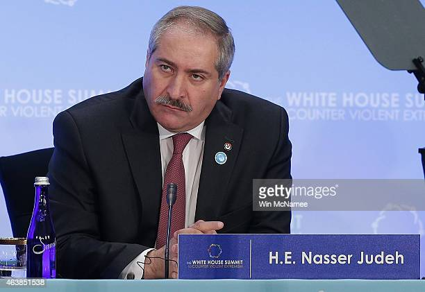 Nasser Judeh Jordanian Minister of Foreign Affairs addresses the White House Summit on Countering Violent Extremism February 19 2015 in Washington DC...