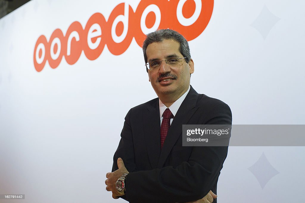 Nasser Marafih, chief executive officer of Qtel Group, poses for a photograph in the Ooredoo pavilion at the Mobile World Congress in Barcelona, Spain, on Wednesday, Feb. 27, 2013. The Mobile World Congress, where 1,500 exhibitors converge to discuss the future of wireless communication, is a global showcase for the mobile technology industry and runs from Feb. 25 through Feb. 28. Photographer: Angel Navarrete/Bloomberg via Getty Images