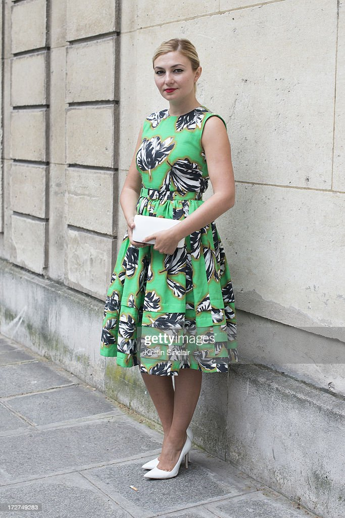 Nassiba Adilova wears a Jonathan Saunders Resort dress, Manolo Blahnik shoes and a Rochio bag on day 3 of Paris Collections: Womens Haute Couture on July 03, 2013 in Paris, France.