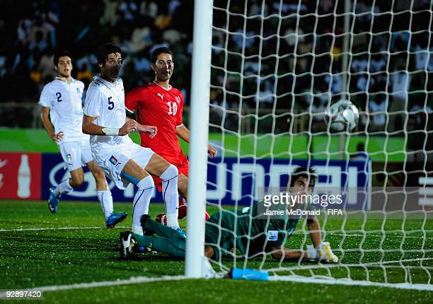 Nassim Ben Khalifa of Switzerland scores his teams first goal during the FIFA U17 World Cup Quarter Final match between Switzerland and Italy at the...