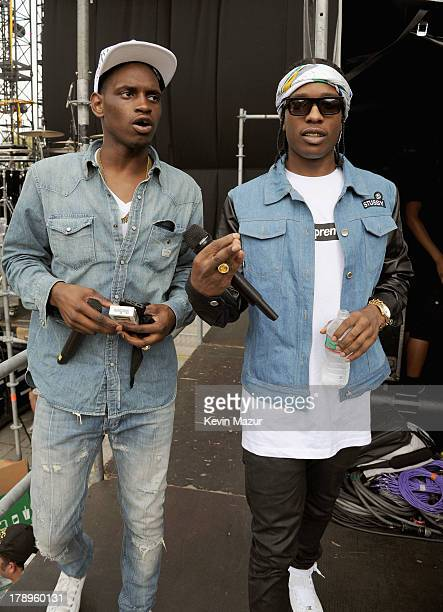 ASAP Nast and ASAP Rocky backstage during the 2013 Budweiser Made In America Festival at Benjamin Franklin Parkway on August 31 2013 in Philadelphia...