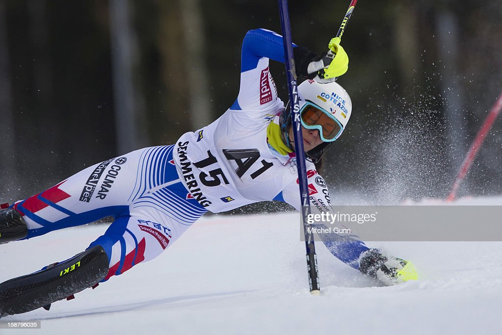 Nastasia Noens of France crashes out of the race whilst competing in the Audi FIS Alpine Ski World Cup Slalom Race on December 29, 2012 in Semmering, Austria.