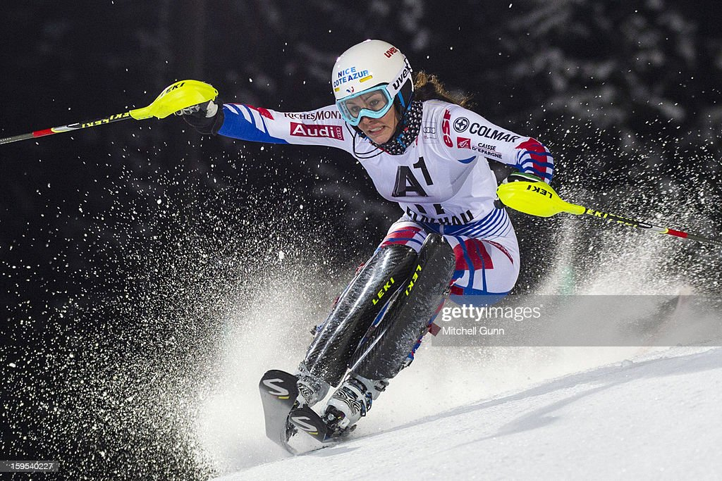 Nastasia Noens of France races down the course whilst competing in the Audi FIS Alpine Ski World Cup Slalom race on January 15, 2013 in Flachau, Austria.