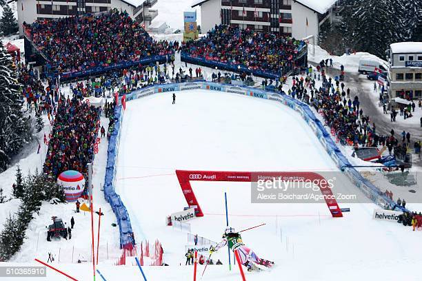 Nastasia Noens of France takes the 2nd place during the Audi FIS Alpine Ski World Cup Women's Slalom on February 15 2016 in Crans Montana Switzerland