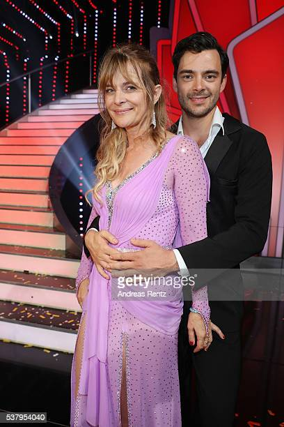 Nastassja Kinski and Ilia Russo attend the final show of the television competition 'Let's Dance' on June 3 2016 in Cologne Germany