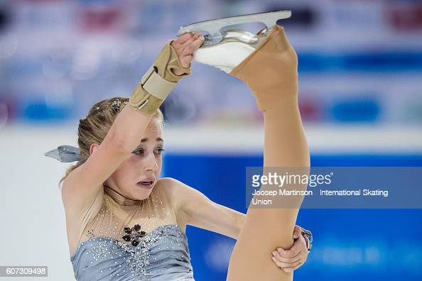 Nastasya Eremina of Estonia competes during the Junior Ladies Free Skating on day three of the ISU Junior Grand Prix of Figure Skating on September...