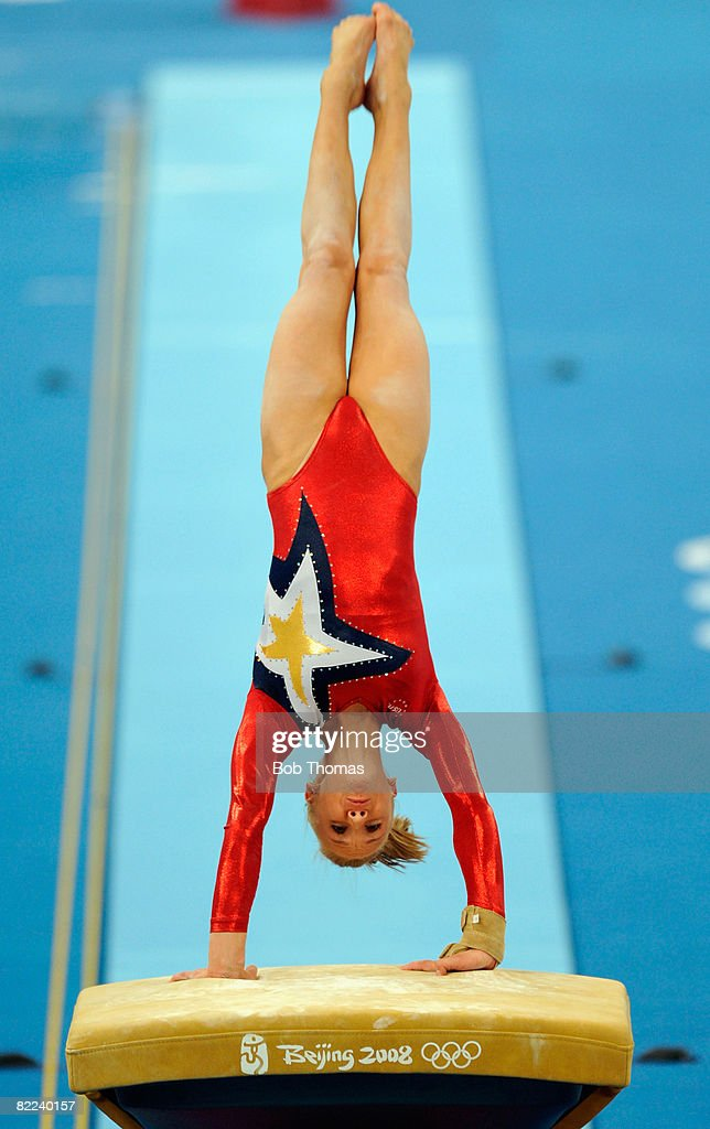 Nastia Liukin of the USA performs on the vault during qualification for the women's artistic gymnastics event held at the National Indoor Stadium during Day 2 of the 2008 Summer Olympic Games on August 10, 2008 in Beijing, China.