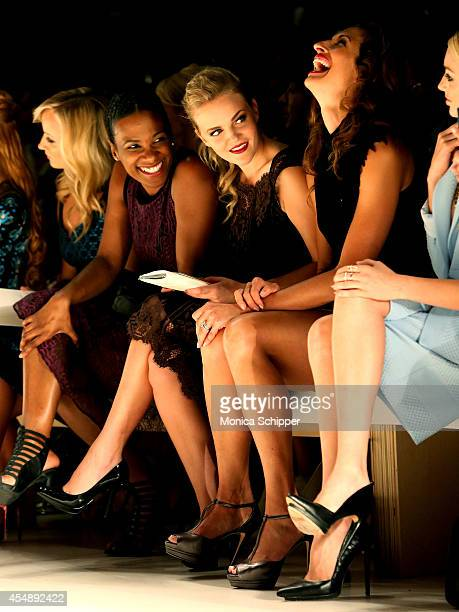 Nastia Liukin Vicky Jeudy Madeline Brewer Alysia Reiner and Peyton List attend the Nanette Lepore fashion show during MercedesBenz Fashion Week...