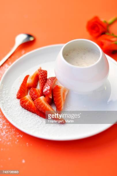 Nasturtium-flavored Fromage blanc with strawberries