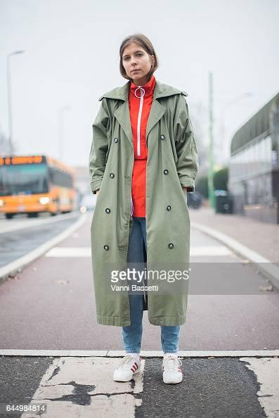 Nastya Klychkova poses wearing Adidas Gazelle shoes after the Etro show during Milan Fashion Week Fall/Winter 2017/18 on February 24 2017 in Milan...