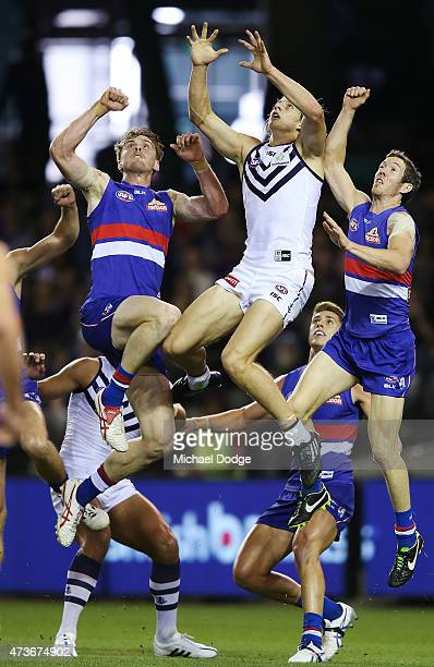 Nat Fyfe of the Dockers competes for the ball during the round seven AFL match between the Western Bulldogs and the Fremantle Dockers at Etihad...
