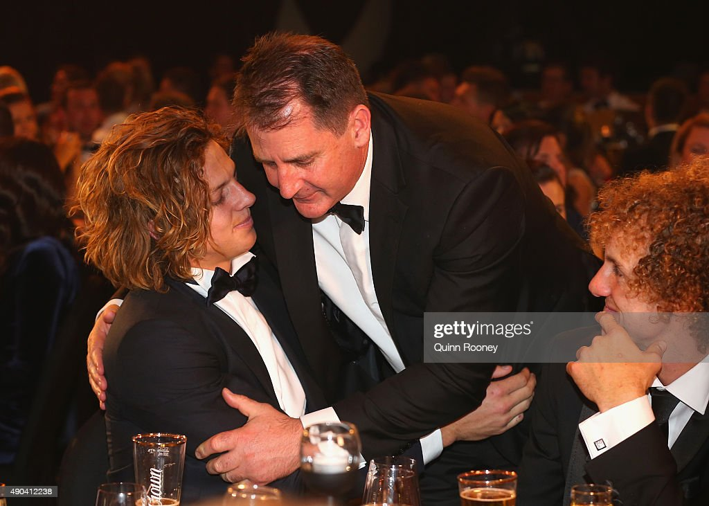 Nat Fyfe of the Dockers is congratulated by coach Ross Lyon after winning the 2015 Brownlow Medal at the 2015 Brownlow Medal at Crown Palladium on September 28, 2015 in Melbourne, Australia.