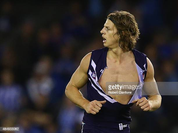 Nat Fyfe of the Dockers is seen after his shirt was ripped during the round 21 AFL match between the North Melbourne Kangaroos and the Fremantle...