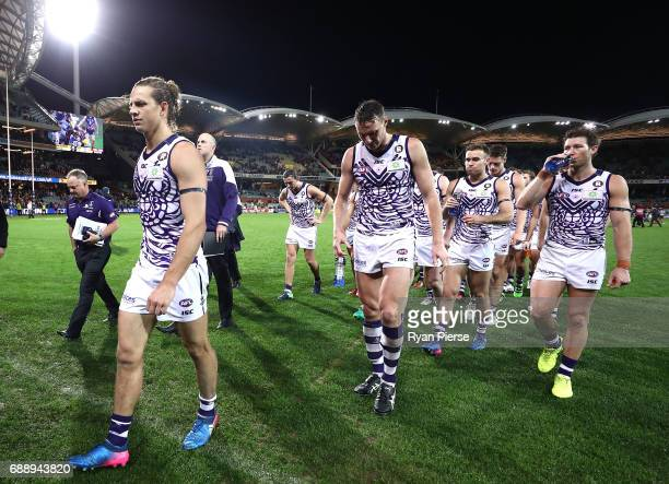Nat Fyfe of the Dockers leads his team from the ground after the round 10 AFL match between the Adelaide Crows and the Fremantle Dockers at Adelaide...