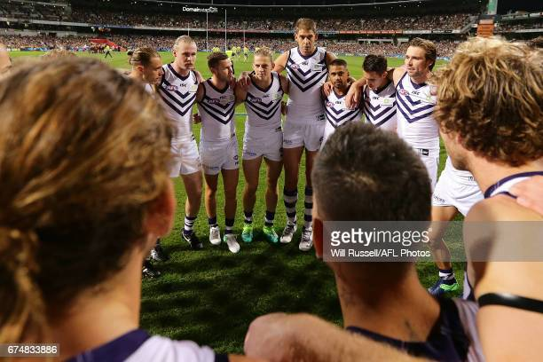 Nat Fyfe of the Dockers speaks to the huddle at the start of the game during the round six AFL match between the West Coast Eagles and the Fremantle...