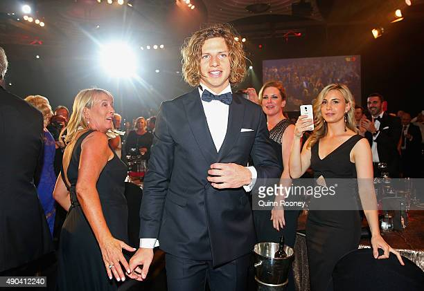 Nat Fyfe of the Dockers walks through the crowd after winning the 2015 Brownlow Medal at the 2015 Brownlow Medal at Crown Palladium on September 28...